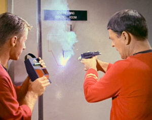 Scotty uses the phaser