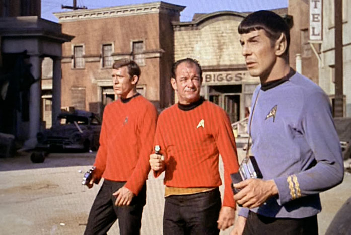 Spock and his team inspect the town