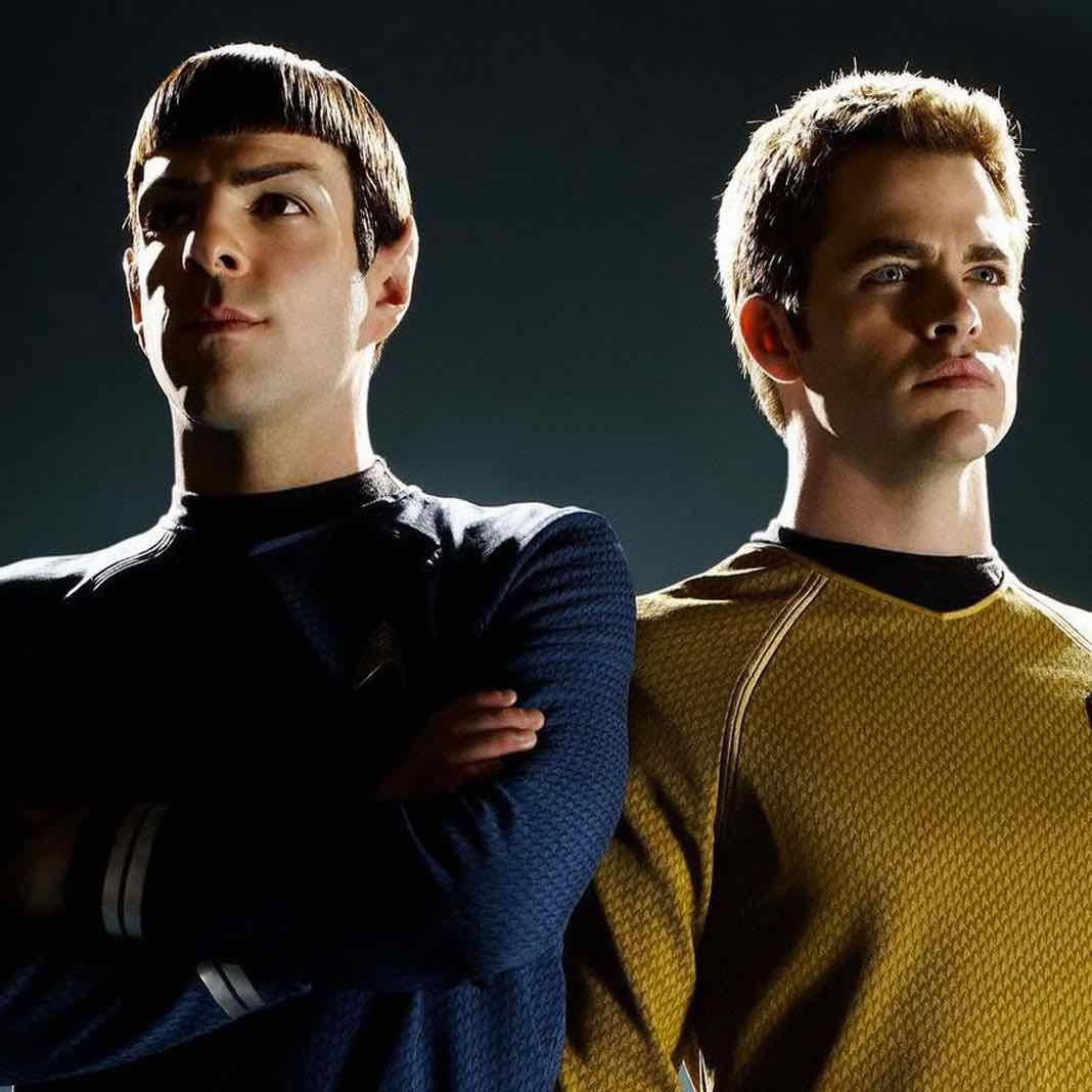 Zachary Quinto as Spock and Chris Pine as Kirk