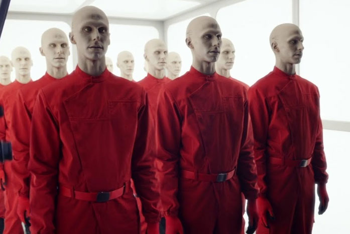 """The androids serving on Mars, which a human referred to as """"the plastic people."""" Courtesy of CBS"""
