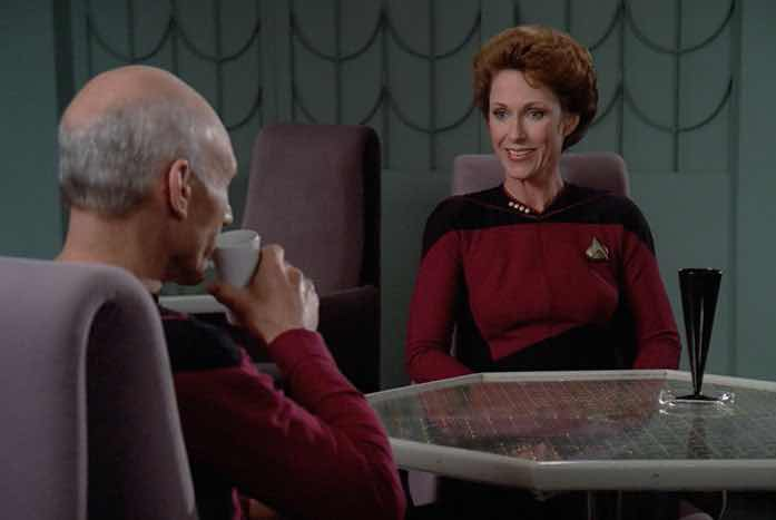Picard with Captain Phillipa Louvois, played by Amanda McBroom. Courtesy of CBS / Paramount