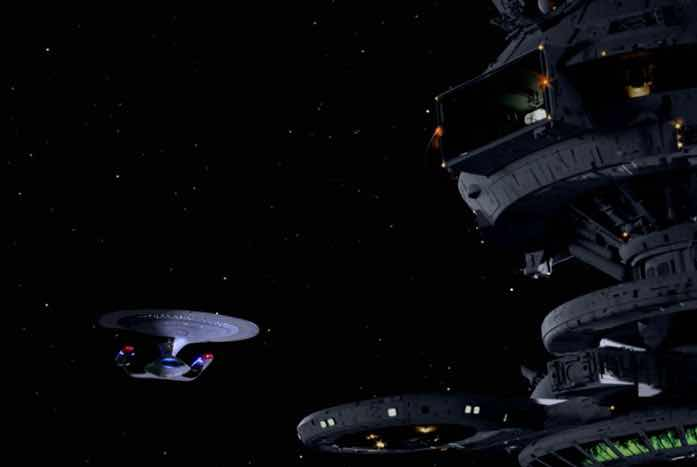 The Enterprise and Starbase 173. You may remember this starbase design from The Wrath of Khan. Courtesy of CBS / Paramount