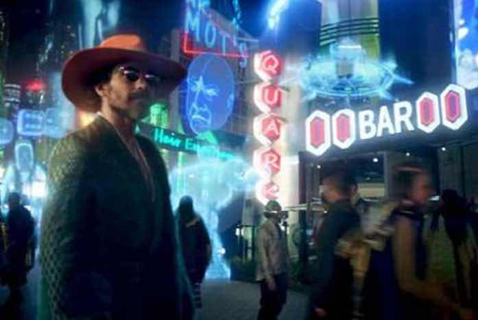 """Rios on Freecloud. Notice Quark's Bar and Mr. Mott's """"Hair Emporium"""" in the background. Courtesy of CBS"""