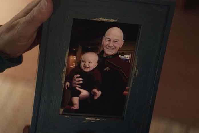 The very first time Picard met Thad, the son of Riker and Troi. Courtesy of CBS