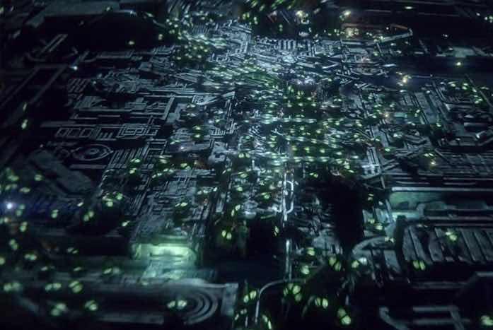 The Borg Cube regenerating. Courtesy of CBS