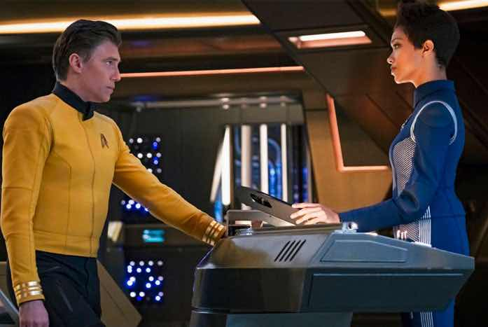 Anson Mount as Pike, with Sonequa Martin-Green as Michael Burnham. Courtesy of CBS