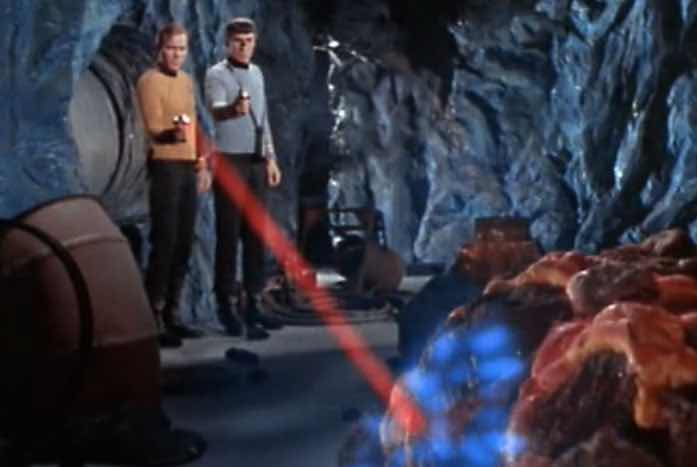 Kirk and Spock give the creature a bit of pain. Courtesy of CBS / Paramount