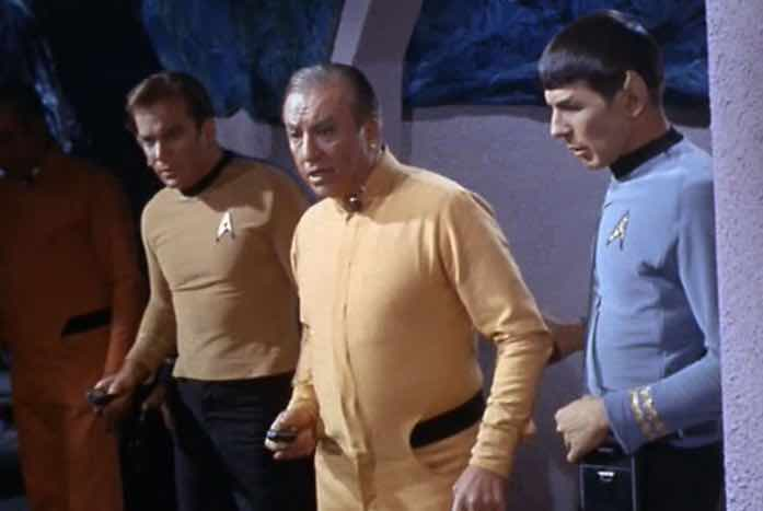 Kirk with Chief Engineer Vanderberg (Ken Lynch), and Spock. Courtesy of CBS / Paramount
