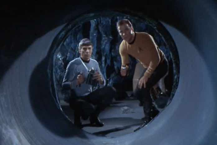Spock and Kirk in the tunnels