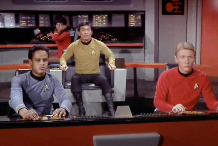 Sulu was left in charge as acting captain. This was the first time, but would not be the last. Courtesy of CBS / Paramount