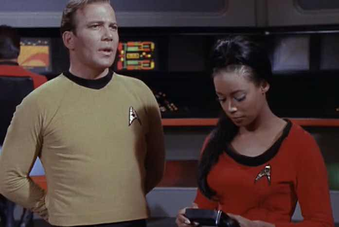 Shatner with Maurishka as Yeoman Zahra