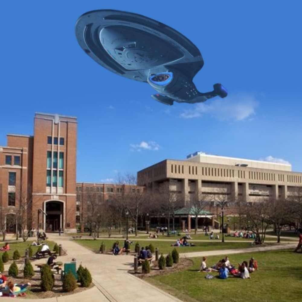 The Voyager hovers over DePaul University