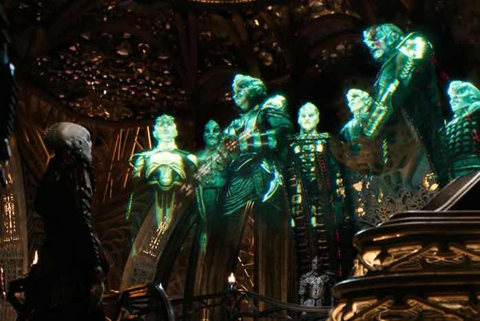 A meeting of the Klingon leadership, via hologram. Courtesy of CBS
