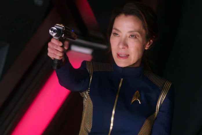 Michelle Yeoh as Captain Georgiou, ordering Burnham to stand down. Courtesy of CBS