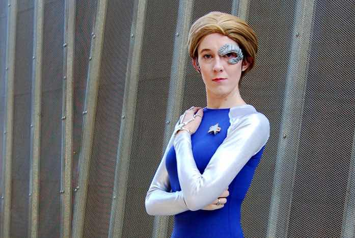 Sally in cosplay mode as Seven.