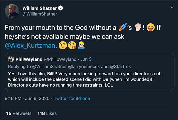 William Shatner's response on Twitter after #ReleaseTheShatnerCut became popular.
