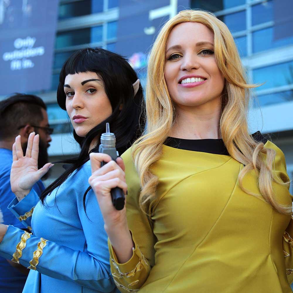 Two female Trek cosplayers, at WonderCon 2017.