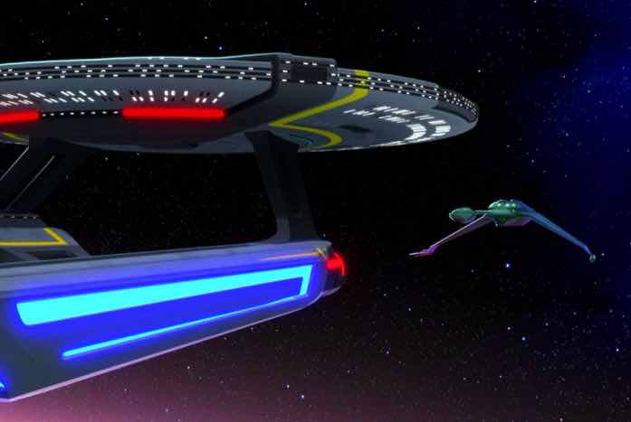 The Cerritos and the Klingon ship face each other. Courtesy of CBS