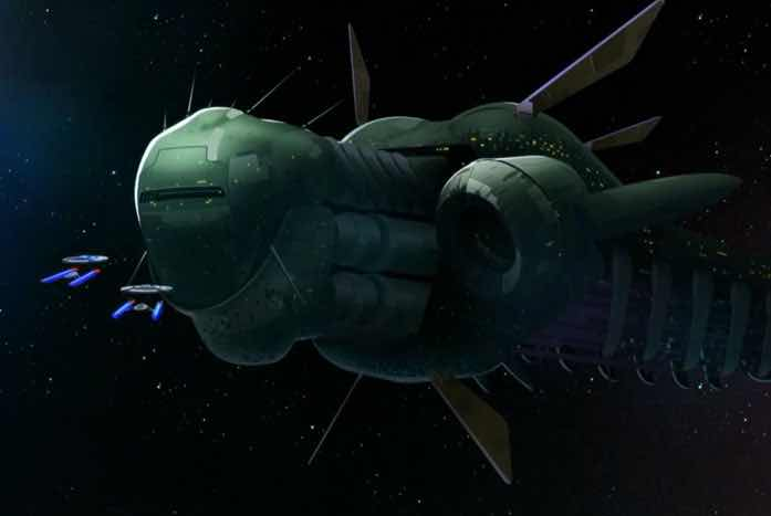 The Starfleet ships and the generation vessel. Courtesy of CBS