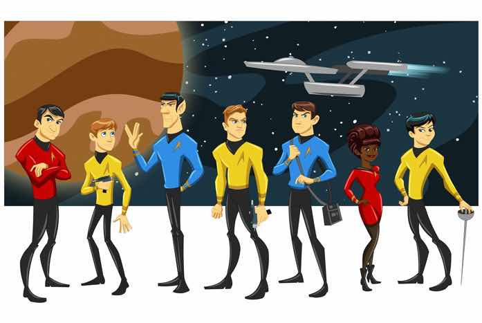 The Original Series cast, as animated by Robby Cook.