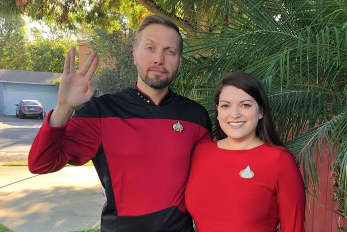 An image from a Picard deleted scene where Riker and Troi... actually it's Aaron and his wife, author and screenwriter Ellen Tremiti.