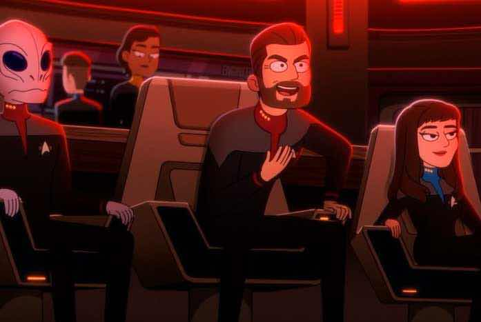 Riker and Red Alert. Like peas and carrots. Courtesy of CBS