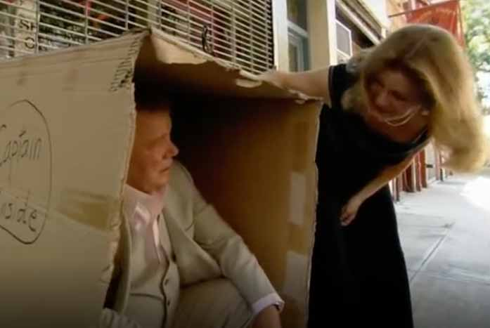 """Shatner is found by Kate Mulgrew on the streets of New YorkCity on """"The Captains."""" Courtesy of 455 Films"""