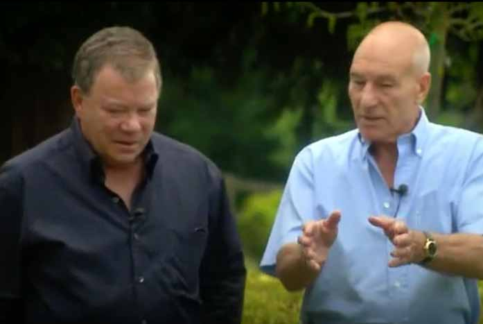 """Shatner and Patrick Stewart catch up on """"The Captains."""" Courtesy of 455 Films"""