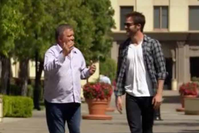 Now we finally know which Kirk is taller — Shatner or Chris Pine. Courtesy of 455 Films