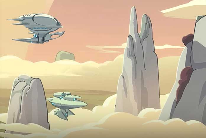 An amazingly cloudy scene by Canobbio and his team at Titmouse. Courtesy of CBS
