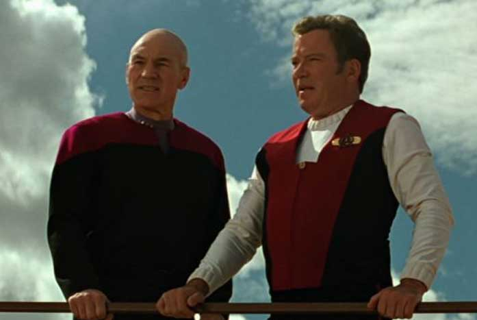 The captains together in Star Trek: Generations. Courtesy of Paramount