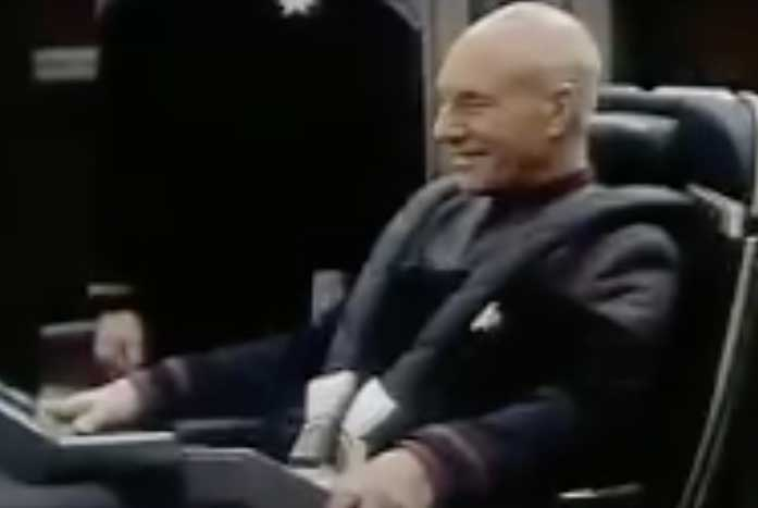 Picard (Patrick Stewart) in a deleted scene from Star Trek: Nemesis. Courtesy of Paramount