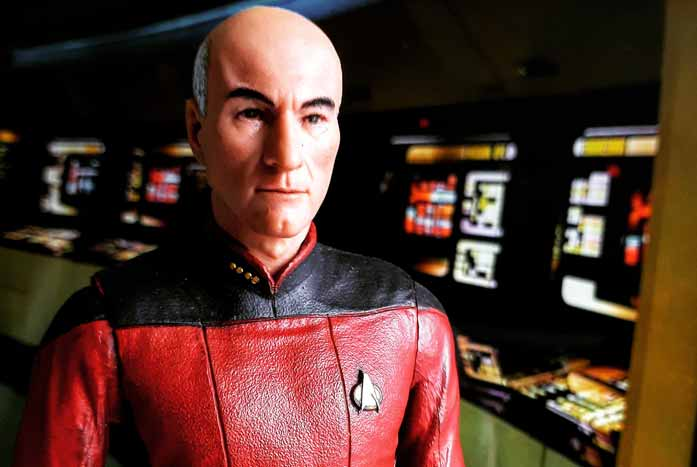 One of DeQuadros' amazing toy photos — this one of Jean-Luc Picard. Photo by John DeQuadros
