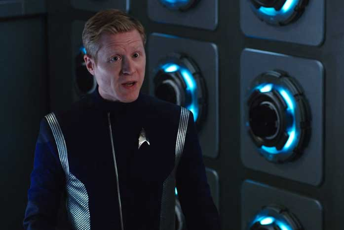 """""""We're running drills near Klingon space now?"""" asked Lt. Paul Stamets. Courtesy of CBS"""