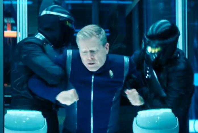 The bad guys from the Emerald Chain nabbed Stamets before they could jump. Courtesy of CBS