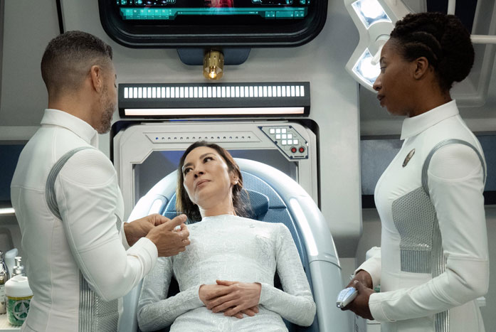 Drs. Culber and Pollard look over Georgiou in sickbay. Courtesy of CBS