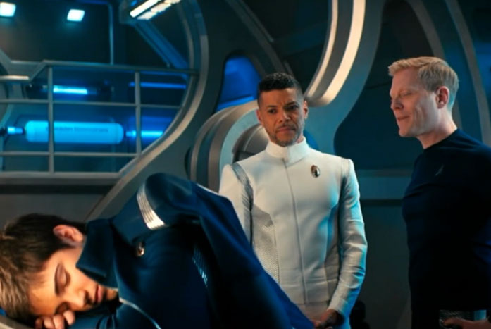 Stamets and Culber look over the sleeping genius. Courtesy of CBS