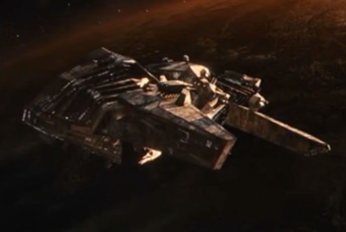 Osyraa's ship, the Viridian. Winner of the 32nd Century's ugly ship contest. Courtesy of CBS