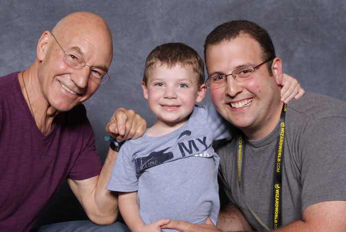 Patrick Stewart with Blake and Jamie Rogers. Photo courtesy of Jamie Rogers