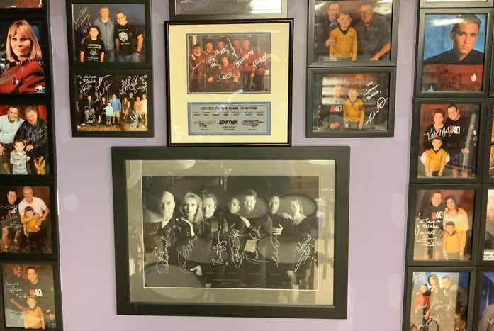 Just a little slice of Jamie's memorabilia — which goes well beyond Trek. His collection includes autographs and photos from sports, music, and beyond. Courtesy of Jamie Rogers