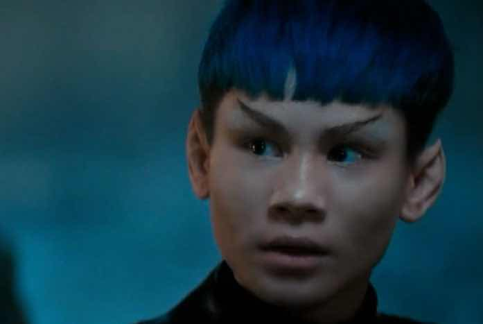 Gray as a blu-haired Vulcan. A nice look! Courtesy of CBS