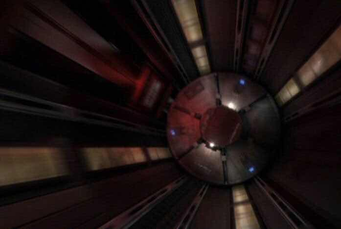 A turbolift shaft on the U.S.S. Voyager. This makes a lot more sense. Courtesy of Paramount