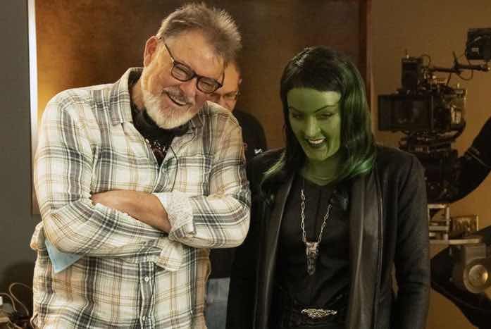 "Jonathan Frakes and Kidder share a moment on set during the filming of ""The Sanctuary."" Courtesy of CBS"
