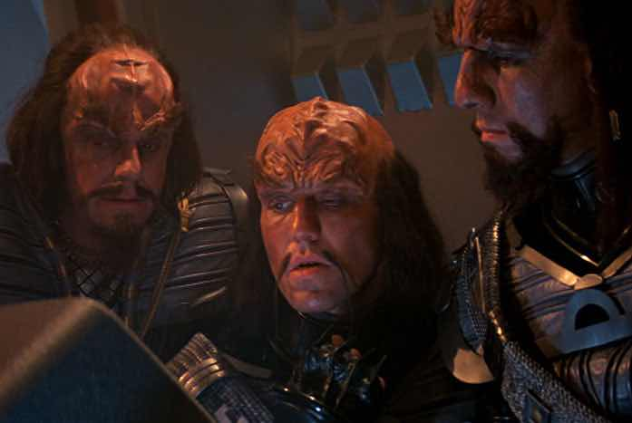 The Klingons look at the Genesis information. Courtesy of Paramount