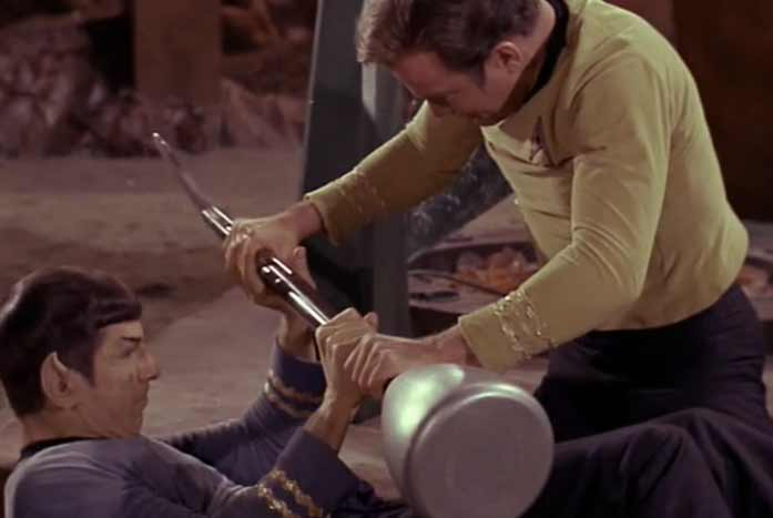 Spock and Kirk fight with the lirpas. Courtesy of Paramount
