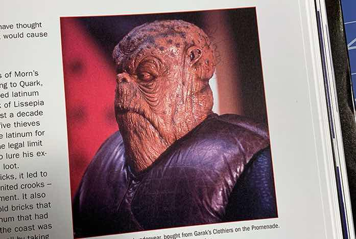 Who can forget or overlook the incredible Morn, and all of his contributions to DS9? The book covers all of them.
