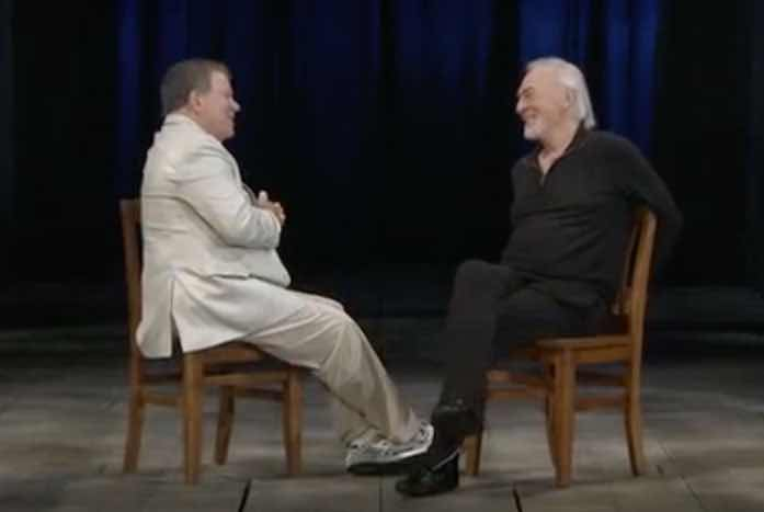 Shatner interviewing Plummer for The Captains documentary in 2011. Courtesy of 455 Films