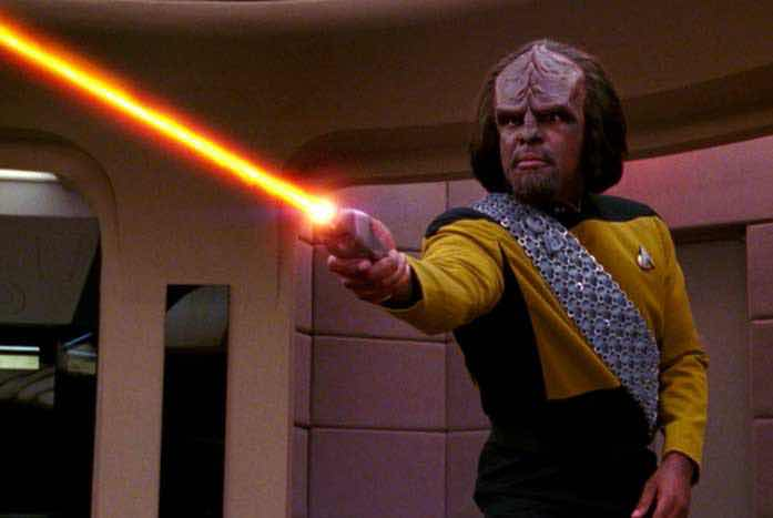 Dorn as Mr. Worf on Star Trek: The Next Generation. Courtesy of CBS