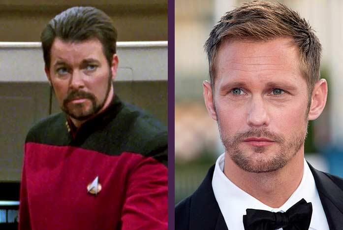Jonathan Frakes as Will Riker, with Alexander Skarsgård. CBS