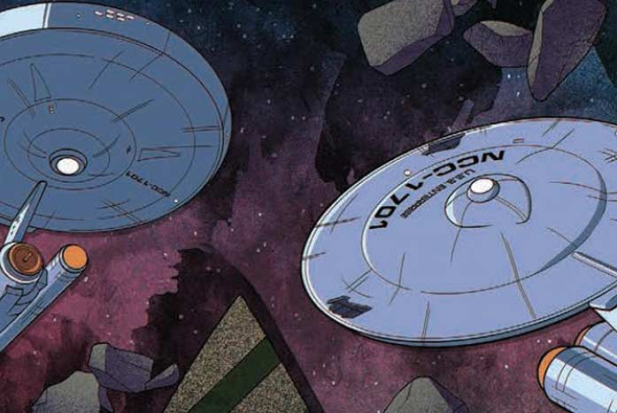 Phil Murphy's take on an animated U.S.S. Enterprise or two. Courtesy of IDW